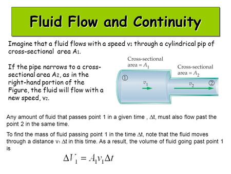 Fluid Flow and Continuity Imagine that a fluid flows with a speed v 1 through a cylindrical pip of cross-sectional area A 1. If the pipe narrows to a cross-