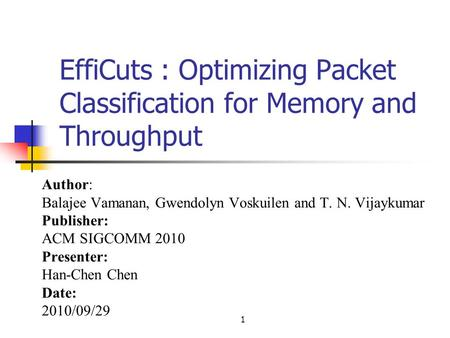 1 EffiCuts : Optimizing Packet Classification for Memory and Throughput Author: Balajee Vamanan, Gwendolyn Voskuilen and T. N. Vijaykumar Publisher: ACM.
