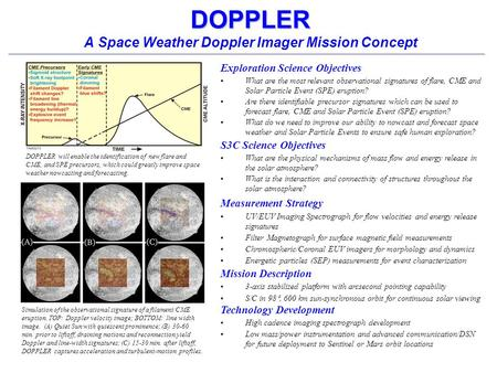 DOPPLER DOPPLER A Space Weather Doppler Imager Mission Concept Exploration Science Objectives What are the most relevant observational signatures of flare,