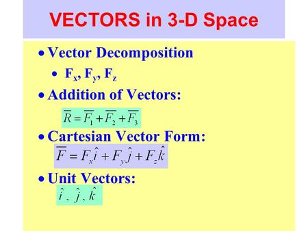 VECTORS in 3-D Space Vector Decomposition Addition of Vectors: