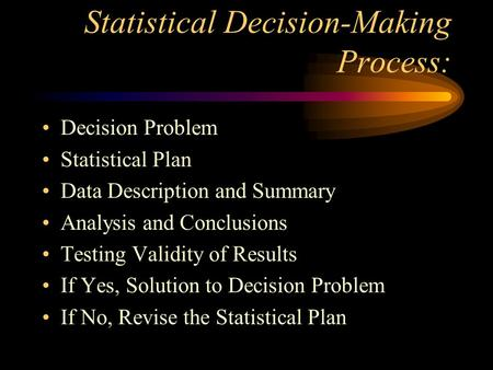 Statistical Decision-Making Process: Decision Problem Statistical Plan Data Description and Summary Analysis and Conclusions Testing Validity of Results.