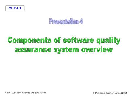 Components of software quality assurance system overview