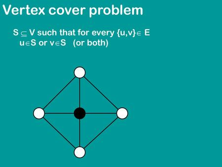 Vertex cover problem S  V such that for every {u,v}  E u  S or v  S (or both)