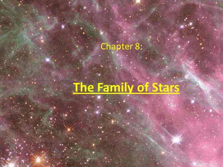The Family of Stars Chapter 8:. Organizing the Family of Stars: The Hertzsprung-Russell Diagram We know: Stars have different temperatures, different.