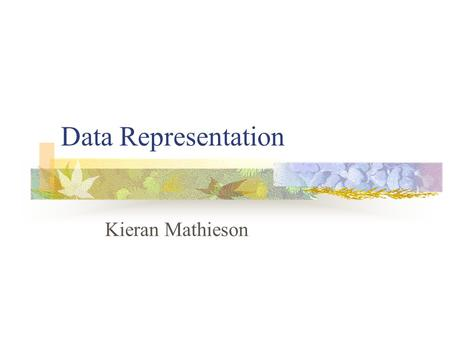 Data Representation Kieran Mathieson. Outline Digital constraints Data types Integer Real Character Boolean Memory address.
