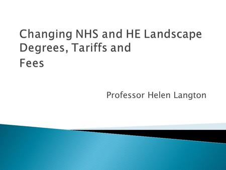 Professor Helen Langton.  Changing NHS and HE Landscape  Impacts of the changes  Changes to nursing and allied health  CPD  Technology Enhanced Learning.