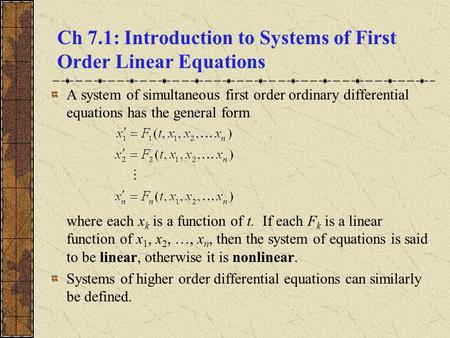 Ch 7.1: Introduction to Systems of First Order Linear Equations
