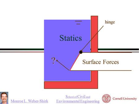 Monroe L. Weber-Shirk S chool of Civil and Environmental Engineeringhinge ? Statics Surface Forces 
