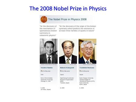 The 2008 Nobel Prize in Physics. Symmetries Symmetries often give us a way to characterize how forces interact. Here, a mirror symmetry flips left and.