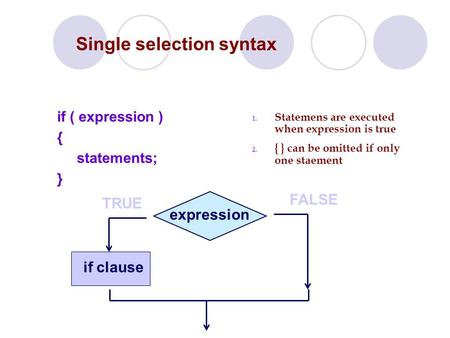 Single selection syntax if ( expression ) { statements; } TRUE FALSE expression if clause 1. Statemens are executed when expression is true 2. { } can.