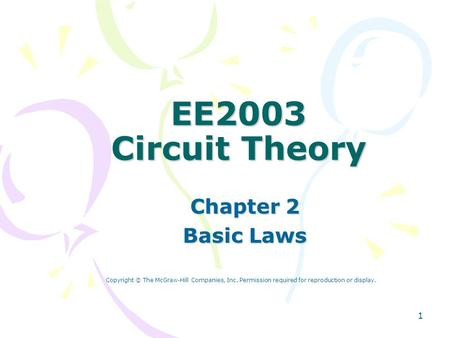 EE2003 Circuit Theory Chapter 2 Basic Laws