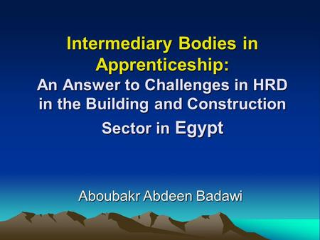 Intermediary Bodies in Apprenticeship: An Answer to Challenges in HRD in the Building and Construction Sector in Egypt Aboubakr Abdeen Badawi.