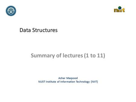 Summary of lectures (1 to 11)