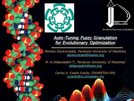 Auto-Tuning Fuzzy Granulation for Evolutionary Optimization Auto-Tuning Fuzzy Granulation for Evolutionary Optimization Mohsen Davarynejad, Ferdowsi University.