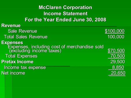 McClaren Corporation Income Statement For the Year Ended June 30, 2008 Revenue Sale Revenue $100,000 Sale Revenue $100,000 Total Sales Revenue 100,000.