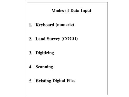 Data Input How do I transfer the paper map data and attribute data to a format that is usable by the GIS software? Data input involves both locational.