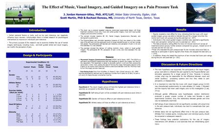 The Effect of Music, Visual Imagery, and Guided Imagery on a Pain Pressure Task J. Jordan Hamson-Utley, PhD, ATC/LAT, Weber State University, Ogden, Utah.