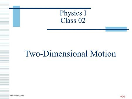 02-1 Physics I Class 02 Two-Dimensional Motion. 02-2 One-Dimensional Motion with Constant Acceleration - Review.