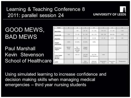 GOOD MEWS, BAD MEWS Using simulated learning to increase confidence and decision making skills when managing medical emergencies – third year nursing students.
