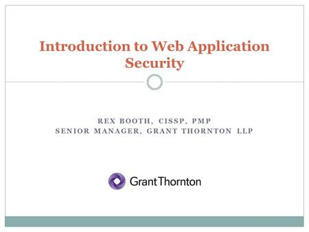 Introduction to Web Application Security