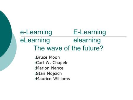 E-LearningE-Learning eLearningelearning The wave of the future?  Bruce Moon  Carl W. Chapek  Marlon Nance  Stan Mojsich  Maurice Williams.