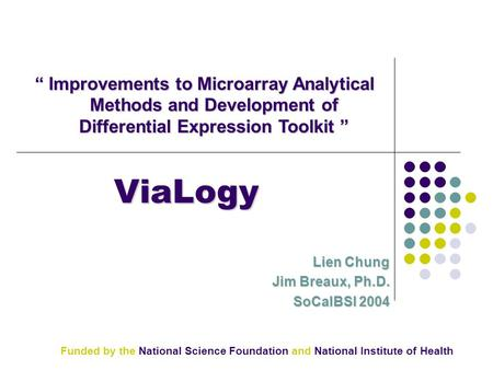 "ViaLogy Lien Chung Jim Breaux, Ph.D. SoCalBSI 2004 "" Improvements to Microarray Analytical Methods and Development of Differential Expression Toolkit """