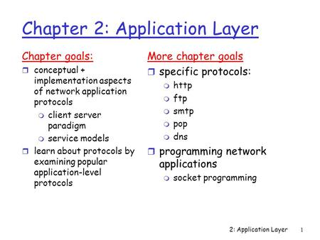2: Application Layer1 Chapter 2: Application Layer Chapter goals: r conceptual + implementation aspects of network application protocols m client server.