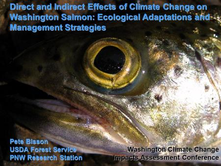 Direct and Indirect Effects of Climate Change on Washington Salmon: Ecological Adaptations and Management Strategies Pete Bisson USDA Forest Service PNW.