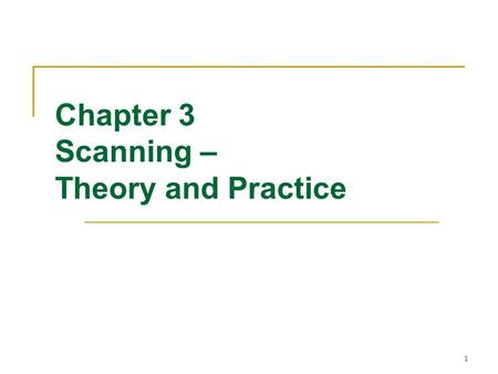 1 Chapter 3 Scanning – Theory and Practice. 2 Overview Formal notations for specifying the precise structure of tokens are necessary  Quoted string in.