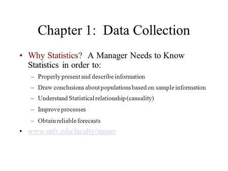 Chapter 1: Data Collection