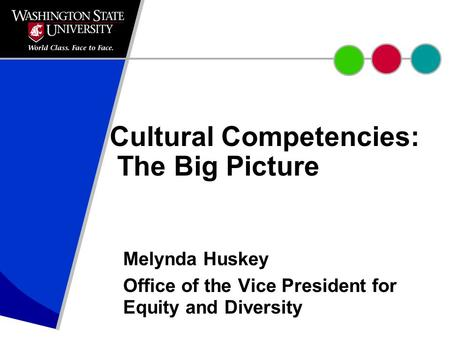 Cultural Competencies: The Big Picture Melynda Huskey Office of the Vice President for Equity and Diversity.