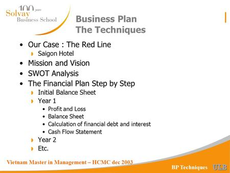 Vietnam Master in Management – HCMC dec 2003 BP Techniques Business Plan The Techniques Our Case : The Red Line  Saigon Hotel Mission and Vision SWOT.
