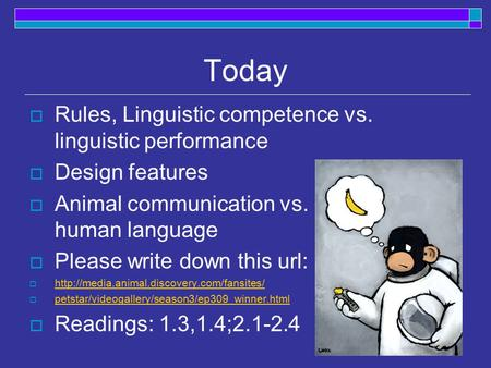 Today Rules, Linguistic competence vs. linguistic performance