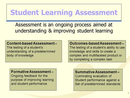 1 Student Learning Assessment Assessment is an ongoing process aimed at understanding & improving student learning Formative Assessment – Ongoing feedback.
