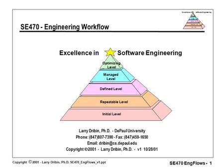 Copyright  2001 - Larry Dribin, Ph.D. SE470_EngFlows_v1.ppt SE470 EngFlows - 1 Excellence in Software Engineering Repeatable Level Defined Level Manage.