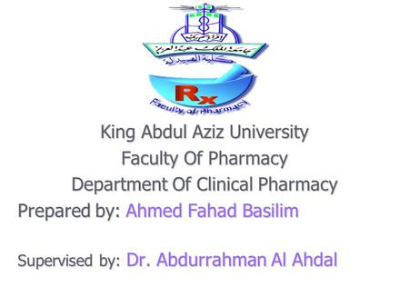 King Abdul Aziz University Faculty Of Pharmacy