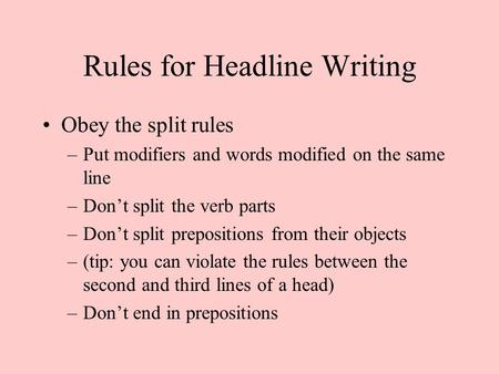 Rules for Headline Writing