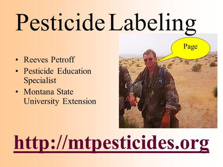 Pesticide Labeling  Reeves Petroff