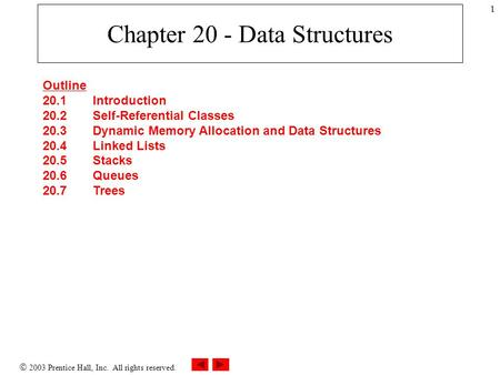 2003 Prentice Hall, Inc. All rights reserved. 1 Chapter 20 - Data Structures Outline 20.1 Introduction 20.2 Self-Referential Classes 20.3 Dynamic Memory.
