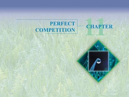 PERFECT COMPETITION 11 CHAPTER. Objectives After studying this chapter, you will able to  Define perfect competition  Explain how price and output are.