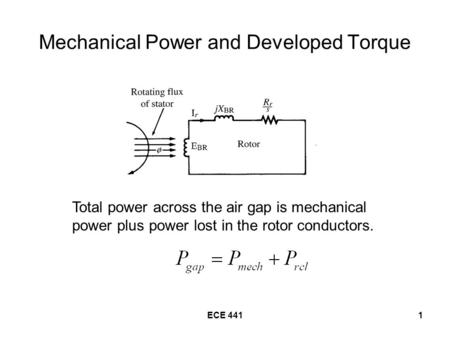 ECE 4411 Mechanical Power and Developed Torque Total power across the air gap is mechanical power plus power lost in the rotor conductors.