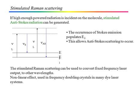 Stimulated Raman scattering If high enough powered radiation is incident on the molecule, stimulated Anti-Stokes radiation can be generated. The occurrence.