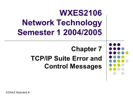 WXES2106 Network Technology Semester 1 2004/2005 Chapter 7 TCP/IP Suite Error and Control Messages CCNA2: Module 8, 9.