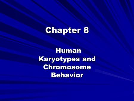 Chapter 8 Human Karyotypes and <strong>Chromosome</strong> Behavior