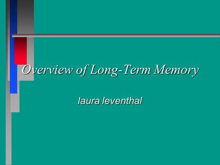 Overview of Long-Term Memory laura leventhal. Reference Chapter 14 Chapter 14.