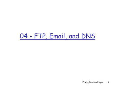 2: Application Layer 1 04 - FTP, Email, and DNS. 2: Application Layer 2 Chapter 2 Application Layer Computer Networking: A Top Down Approach Featuring.