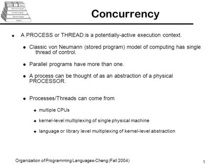 1 Organization of Programming Languages-Cheng (Fall 2004) Concurrency u A PROCESS or THREAD:is a potentially-active execution context. Classic von Neumann.
