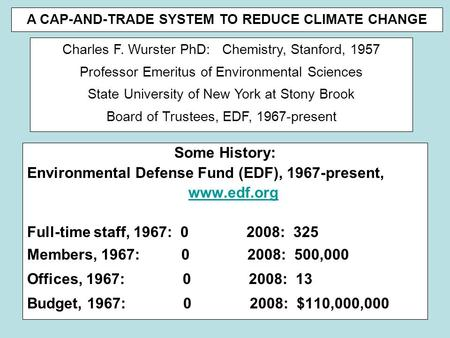 Some History: Environmental Defense Fund (EDF), 1967-present, www.edf.org Full-time staff, 1967: 0 2008: 325 Members, 1967: 0 2008: 500,000 Offices, 1967: