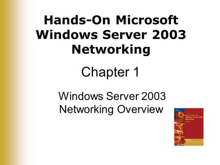 Hands-On Microsoft Windows Server 2003 Networking Chapter 1 Windows Server 2003 Networking Overview.