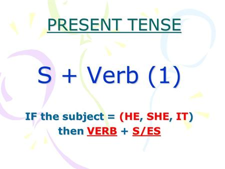 S + Verb (1) IF the subject = (HE, SHE, IT) then VERB + S/ES
